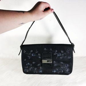 Guess Beaded Denim Baguette Bag